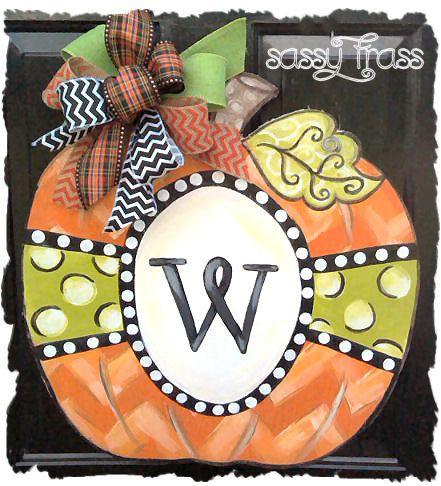 Door Hanger Wood Monogram Pumpkin Halloween Fall Thanksgiving