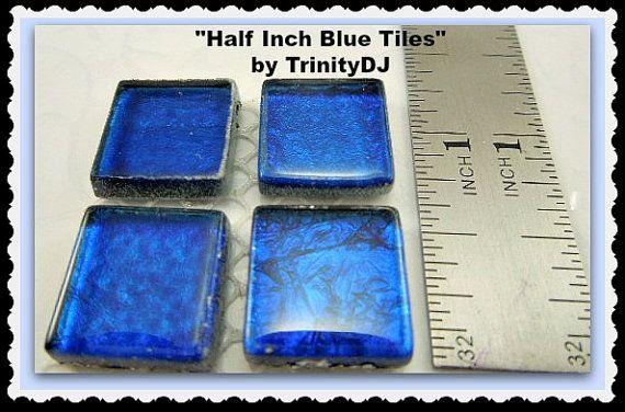 Half Inch Blue Tiles  Cabochons  Half Inch by TrinityDJBoutique