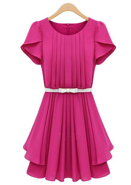 Rose Red Ruffles Short Sleeve Pleated Chiffon Dress US$36.45
