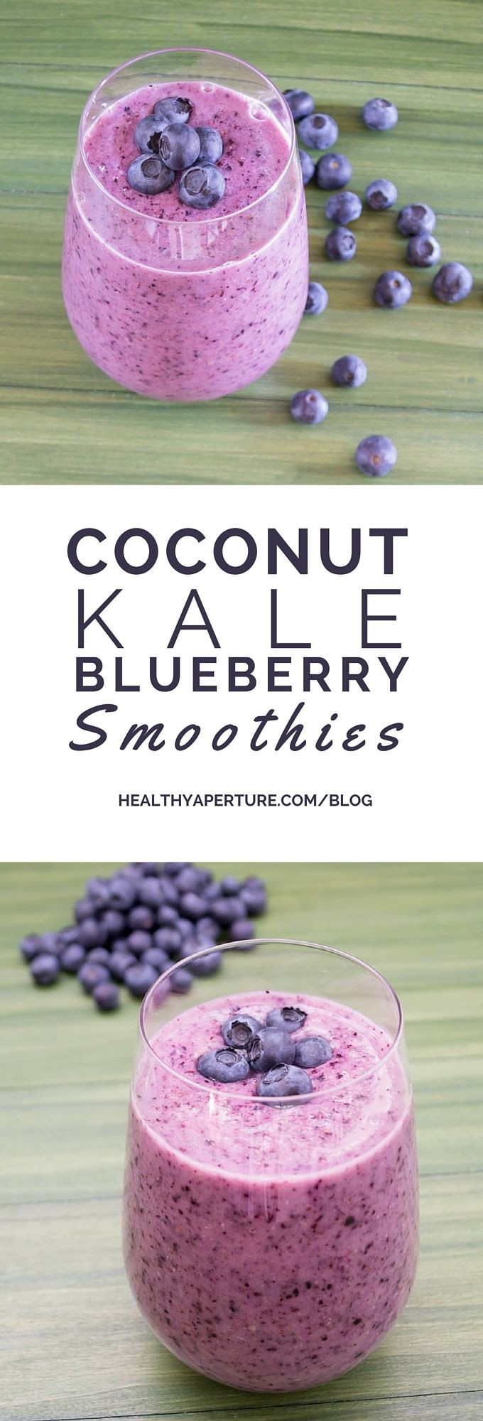 This Coconut, Kale & Blueberry Smoothie is creamy and delicious.