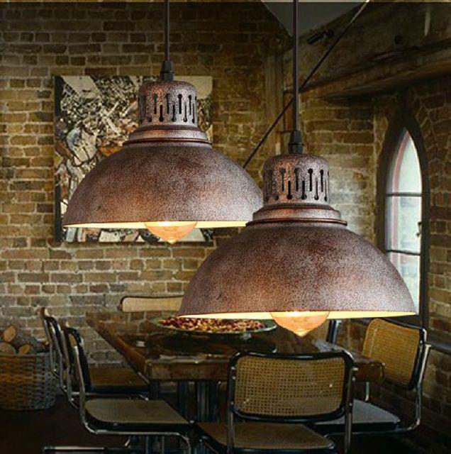 Ac100-240v D23cm rustique métal abat - jour E27 pendentif lumière moderne décor nordiques rétro chambre lampe industrielle Loft luminaire vintage