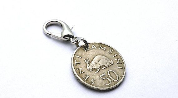 Tanzanian coin zipper charm, Rabbit charm, 1966, Animal charm, Hare, Tribal charm, African charm, Coin charm, Girls gift, Clothing accessory