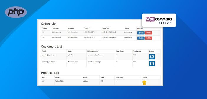 A custom dashboard powered by WooCommerce PHP REST API allows you to view and update store level information about orders and customers.