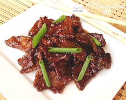 Paleo Mongolian Beef #PaleoCupboard (use coconut flour instead of arrowroot powder) 1 lb. flank steak 1/4 cup arrowroot powder 1/2 tsp. sea salt 1/2 tsp. ground pepper 1 Tbsp. + 1/2 cup lard/bacon fat or tallow 1 Tbsp. garlic 1 tsp. dried ginger Dash red pepper flakes (optional) 1 Tbsp. toasted sesame oil 1/2 cup coconut aminos* 1/2 cup chicken or beef broth 1/3 cup raw honey