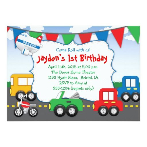 Colorful Transportation Themed Party Invitation
