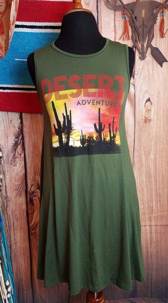 COWGIRL GYPSY BOHO DRESS TUNIC TANK CACTUS DESERT FESTIVAL OLIVE SMALL #colorbear #DRESS