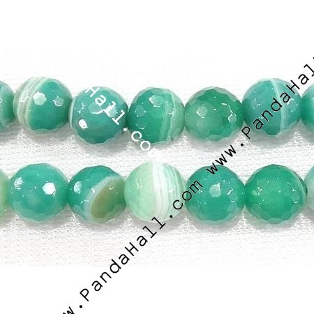 Agate Beads Strands, Grade A, Round, Faceted, Green, 8mm.  Too green?