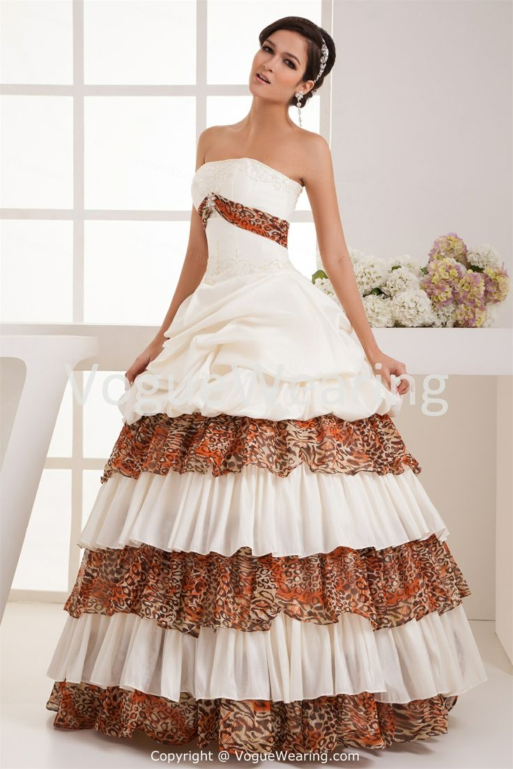 51 best wedding 2015 images on pinterest wedding 2015 zebra ivory leopard print chiffon empire tiered floor length ball gown wedding gown wedding ombrellifo Image collections