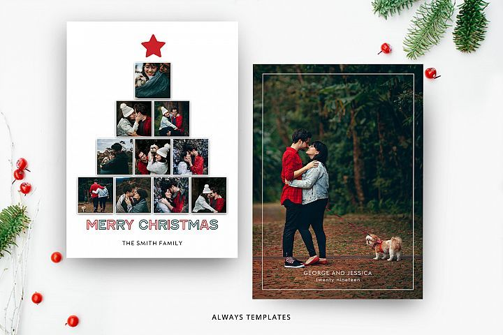 Christmas Card Template Cc037 359421 Card And Invites Design Bundles Christmas Card Template Photoshop Christmas Card Template Christmas Photo Card Template