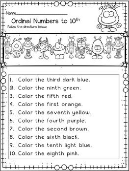 Halloween Math Ordinal Numbers Monster Themed Halloween Ac