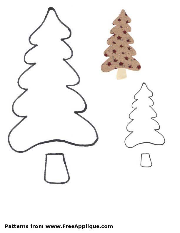 Free Christmas tree patterns for applique in different shapes