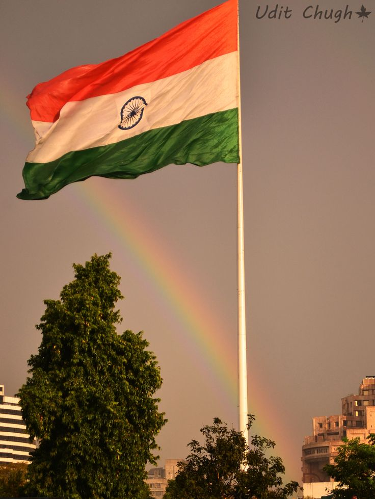 Rainbow adding colors to the Indian Flag
