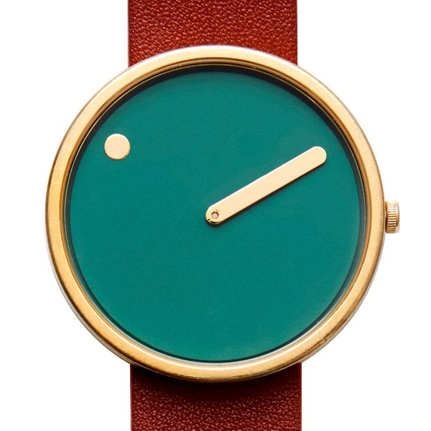 Picto (dusty green/red) watch by Rosendahl. Available at Dezeen Watch Store: www.dezeenwatchstore.com