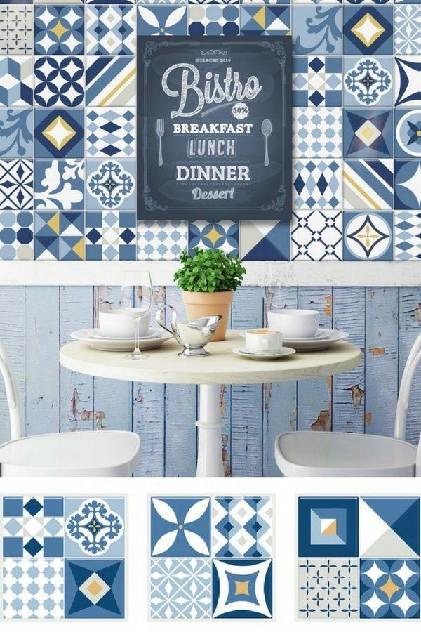 Le carrelage mural adhésif Smart Tiles Vintage Azur