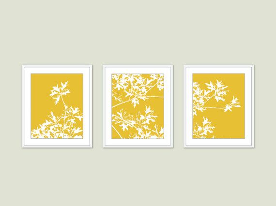 Autumn Tree Set Wall Art Digital Print Set Mustard