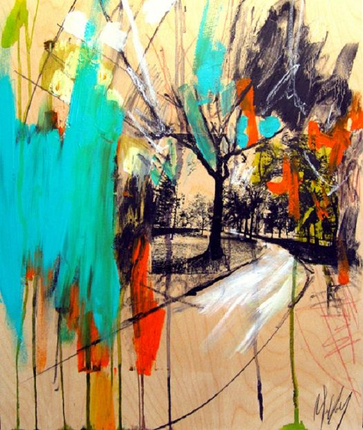 Central park, 2013  mixed media on wood panel 24 inch x 20 inch   Copyrights Karine Molloy www.molloystudio.com