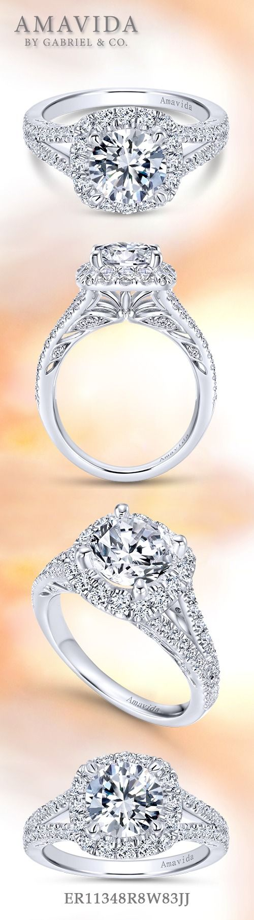 AMAVIDA by Gabriel & Co. - Voted #1 Most Preferred Fine Jewelry and Bridal Brand. A dramatic diamond double halo steals the show in this 18k white gold elegant engagement ring.