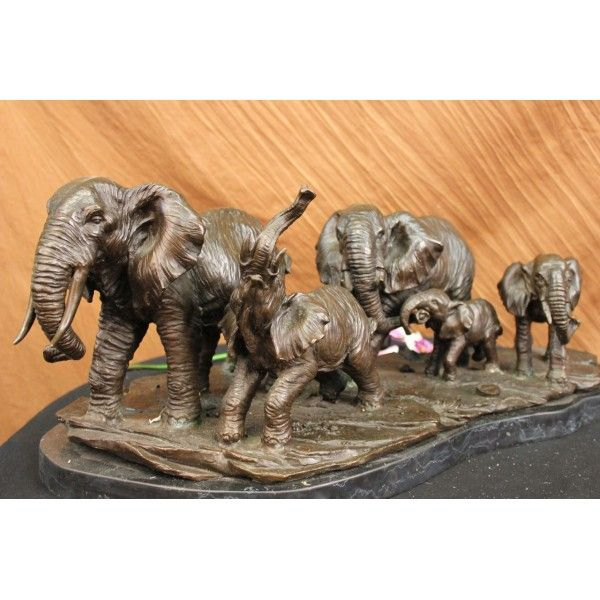 ON SALE !!! Wildlife African Elephants Bronze Statue Sculpture...For Years The Elephant Has Been Known As A Sacred Animal In The East. As The Largest Animal To Walk The Earth, The Elephant Is Known As A Symbol Of Strength And Power. It Also Represents Perseverance, In That It Is An Extremely Hard Working Animal. Elephants Are Also Seen As Symbols Of Wisdom And Dignity, Because Of Their Incredible Intelligence And Very Long Life Span. It Is Believed That An Elephants Trunk Being Raised ...