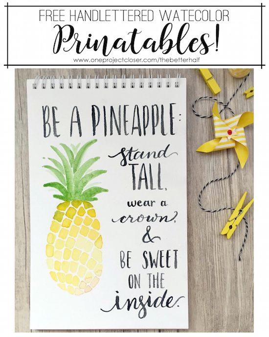 Free Watercolor Printable: Be A Pineapple