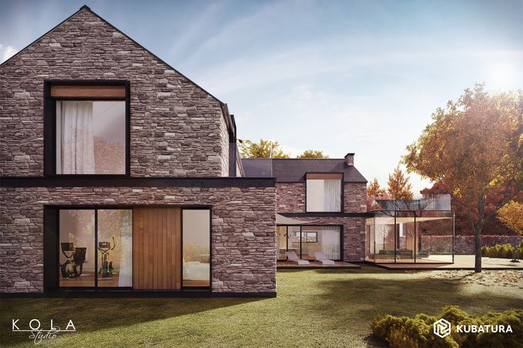 Modern country house with stone walls. Design: Kubatura. Tags: external views of future building, retail visualisations for architects and real-estate developers, residential buildings rendering.
