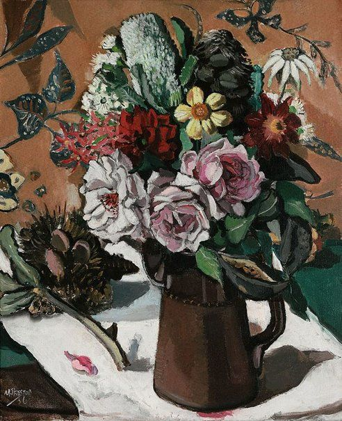 An image of Rose and banksia by Margaret Preston