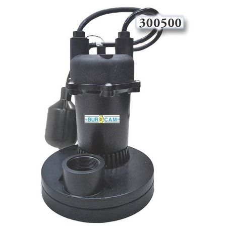 Bur-Cam Pump 300500 Submersible Sump Pumps, 1/3 HP
