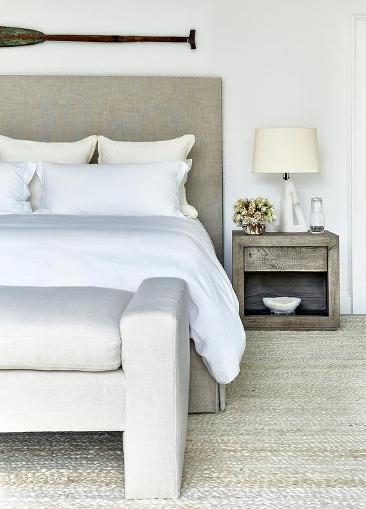 Taupe Linen Headboard With Gray Bench At Foot Of Bed   Transitional    Bedroom
