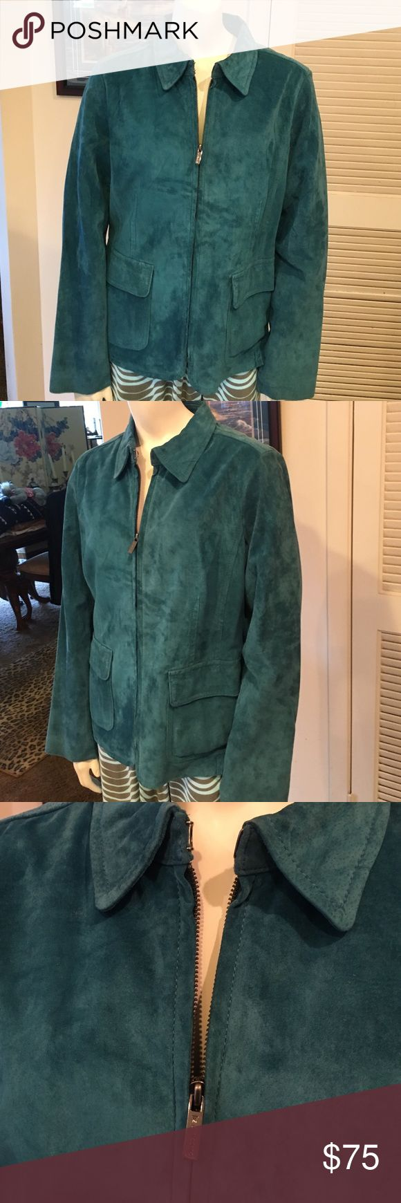 Liz Claiborne Turquoise Suede Jacket!! In great shape designer jacket perfect for fall Liz Claiborne Jackets & Coats Jean Jackets