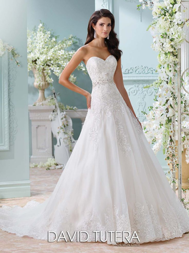 Laina - Strapless organza and metallic Schiffli lace appliqués over satin A-line gown with sweetheart neckline, hand-beaded jeweled motif at natural waist, scalloped hem and chapel length train, detachable spaghetti and halter straps included. Available to try on in a size 14 in Ivory/Light Gold
