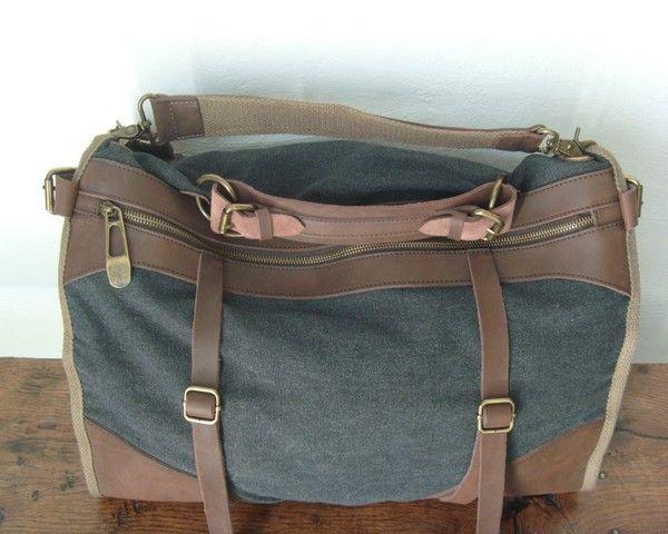 Super sac reporter en cuir et toile de la boutique www.cetaellecetalui.com