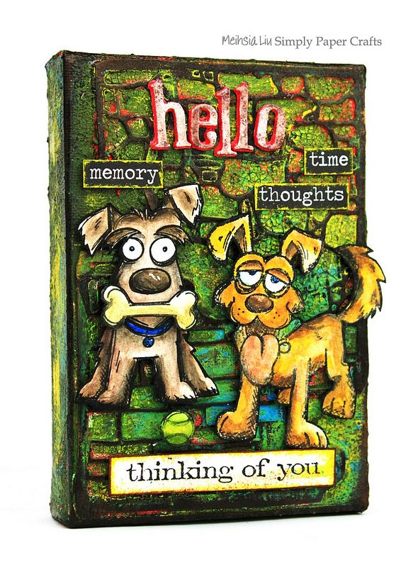 Meihsia Liu Simply Paper Crafts mixed media canvas dogs life Simon Says Stamp Tim Holtz 2