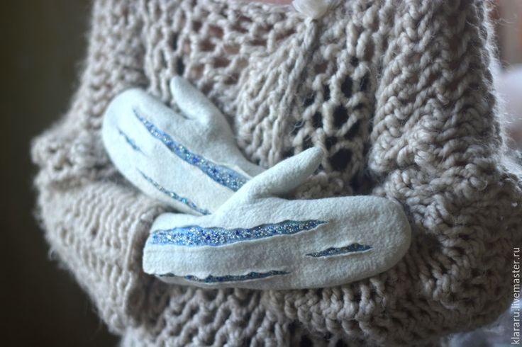 """Купить Варежки """"Льдинки"""", зимние рукавички, женские варежки, белые варежки - варежки, рукавички"""