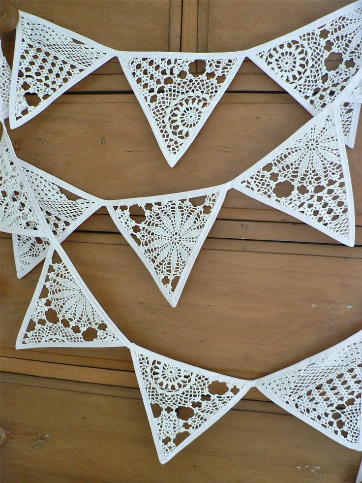 Christmas Bunting Crochet White Let it Snow...... $32.50, via Etsy.