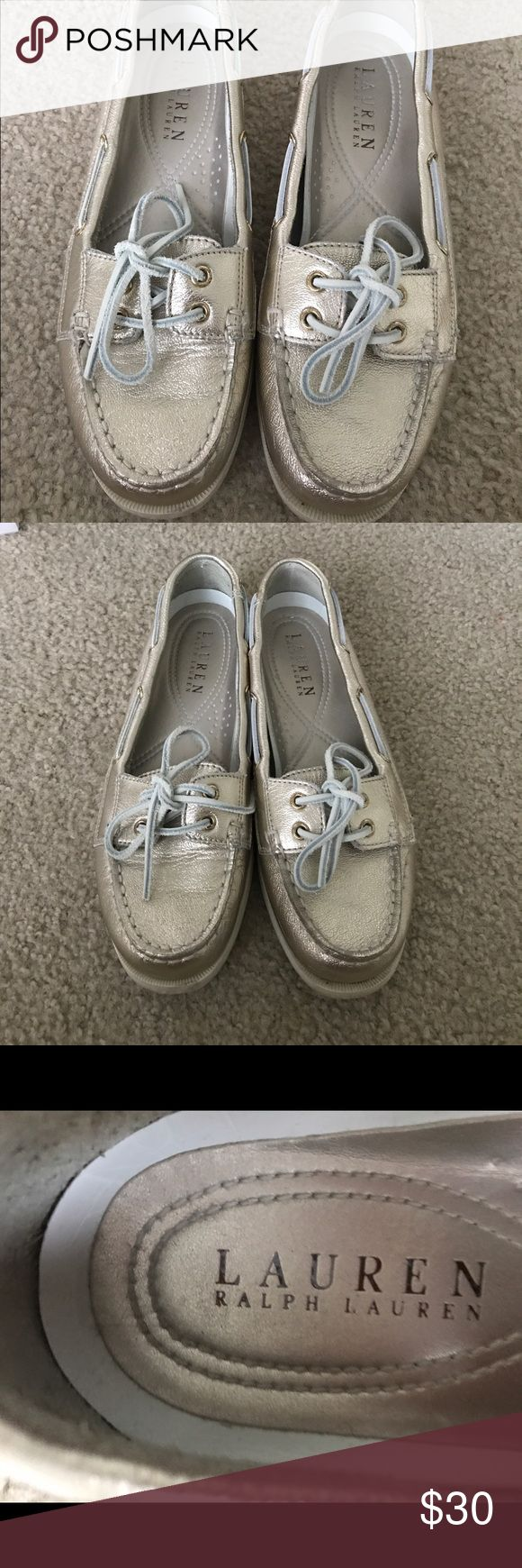 Ralph Lauren Gold Leather Boat Shoes Size 8 Bought from DSW brand new. Worn a handful of times. A few scuffs but no major damage. In good condition. Lots of life left! Lauren Ralph Lauren Shoes Flats & Loafers