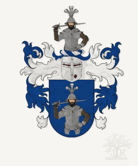 Erb rodu Doudlebských z Doudleb © Genealogie Jihočeské rody 2016
