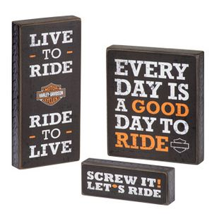 Show your Harley® pride! H-D® Pub Sign Trio features three favorite Harley® mottos. Display as a set or individually.  Features:      Classic wood pub signs.