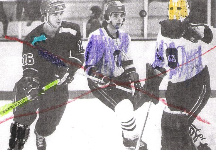 Serious Canadian pastime - the good old hockey game!  Kids add colour to black and white pictures