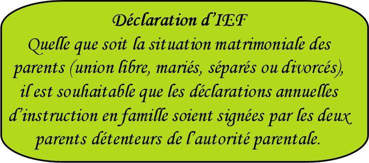 Déclaration d'IEF, instruction en famille