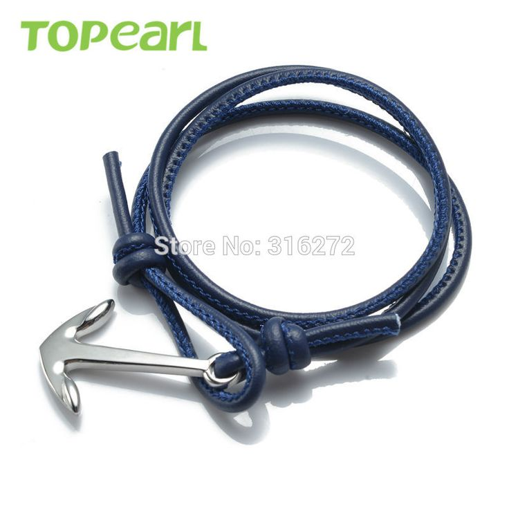 Topearl Jewelry 3pcs Nautical Anchor Multi-Strands Braided Wrap Bracelet Blue MEB172