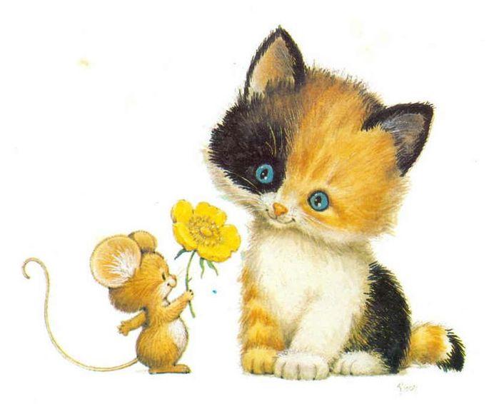 пересмотрели картинки кошки с мышками мягкая