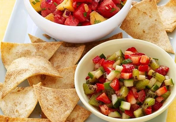 Peach and Watermelon Salsa with Cinnamon Tortilla Chips