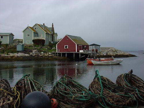 Quaint Fishing Village and Harbor at Peggy's Cove, Nova Scotia