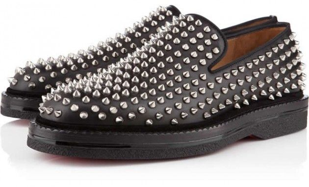 christian louboutin loafers Grey wool studded accents   cosmetics ...