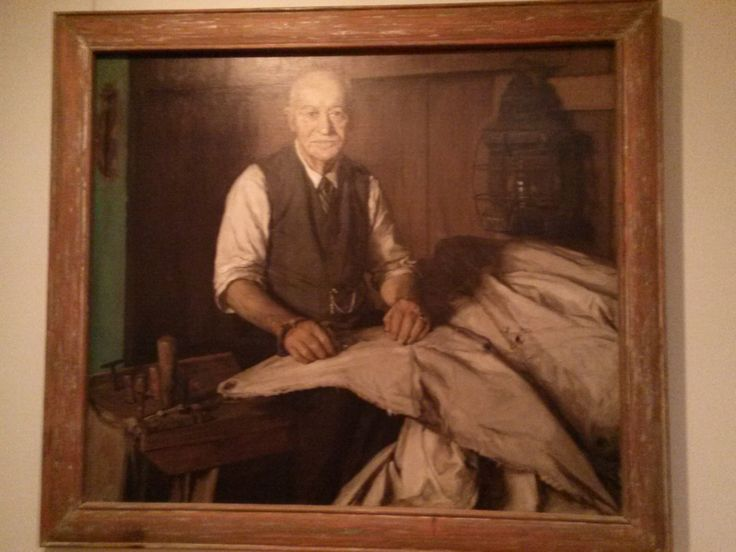 """Charles A. Howes (1850-1938). He lived at 66 Cross Street in Chatham, MA. Portrait painted by Frederick S. Wight. In his own words: """"Yes, I believe I am the last sailmaker on the Cape -I can't be bothered with teaching the trade. There is a lot more to it -more than you would think."""" Quote from A Home on the Rolling Deep. #atwoodhouse, #chatham, #capecod, #chathamhistoricalsociety, #gallery, #portrait, #sailmaker"""
