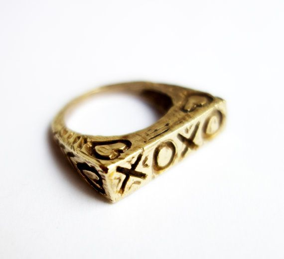 Valentine's Day XOXO - Hand Carved Heavy Cast Ring in Brass