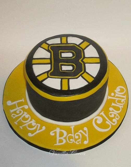 Boston Bruins Hockey Puck Spoked B Logo Happy Birthday Cake