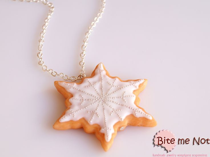 ''Snowflake vanilla biscuit'' -Silver plated long chain necklace! -Snowflake biscuit covered with vanilla sauce and real white sprinkles! So chic!