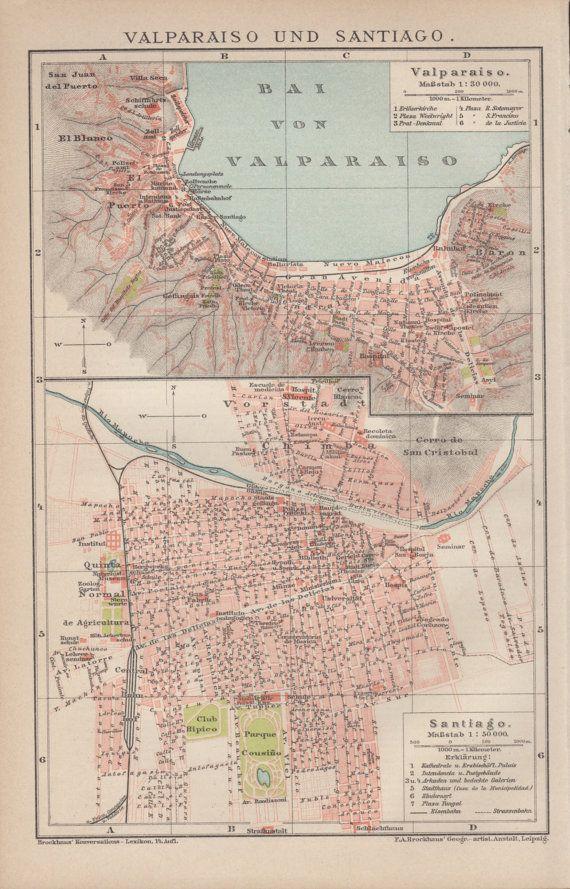 1898 Santiago de Chile Antique Map Vintage