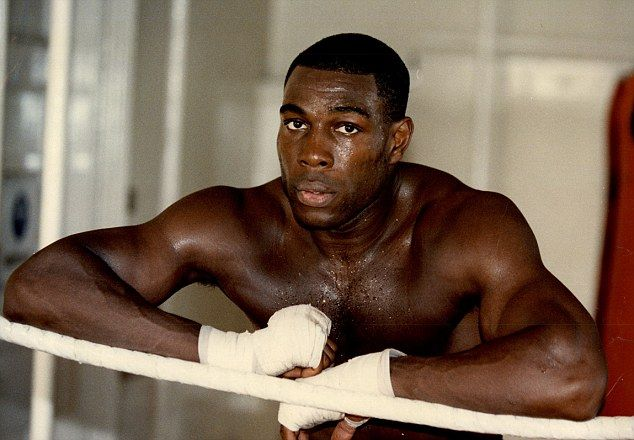 Frank Bruno pictured in a boxing ring during some of his training in 1991