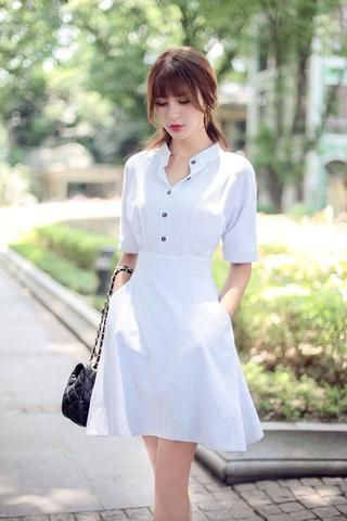 Japanese fashion striped short-sleeved dress - AddOneClothing - 1